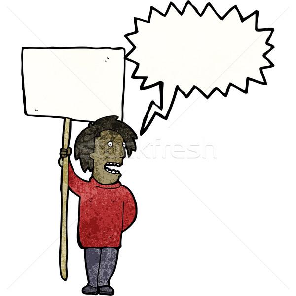 Politikai tiltakozás rajz felirat retro rajz Stock fotó © lineartestpilot