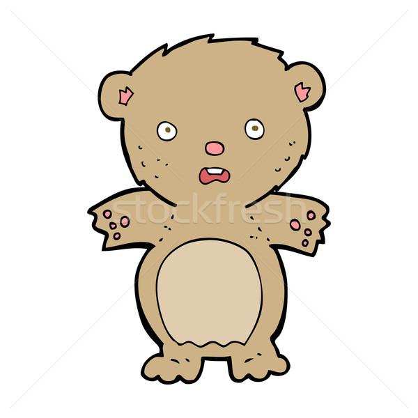 Bange teddybeer cartoon hand ontwerp gek Stockfoto © lineartestpilot