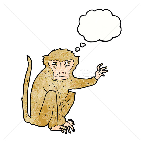 cartoon evil monkey with thought bubble Stock photo © lineartestpilot