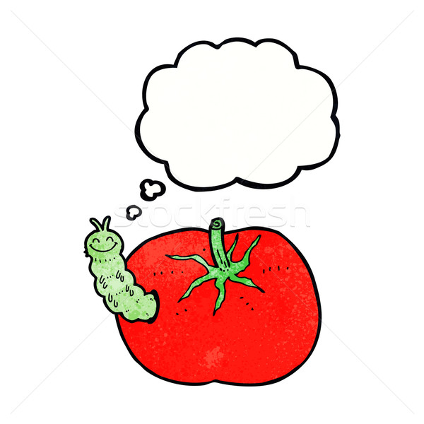 Cartoon tomate bug bulle de pensée main design Photo stock © lineartestpilot