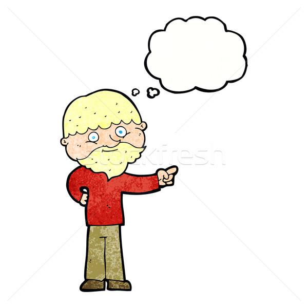 Cartoon бородатый человека указывая мысли пузырь стороны Сток-фото © lineartestpilot
