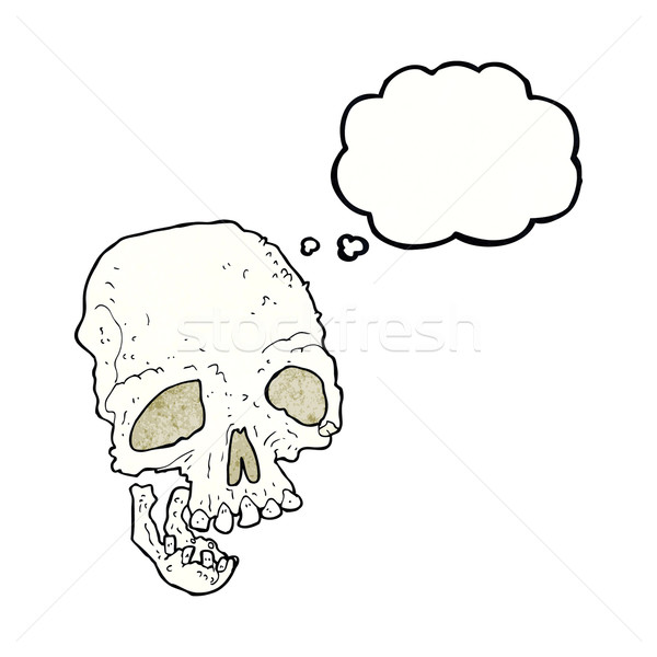 cartoon ancient spooky skull with thought bubble Stock photo © lineartestpilot