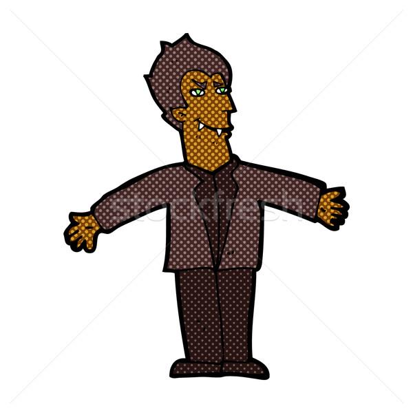Cómico Cartoon vampiro hombre abierto armas Foto stock © lineartestpilot