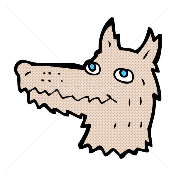 Komische cartoon wolf hoofd retro Stockfoto © lineartestpilot