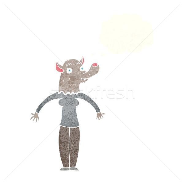 漫画 優しい 狼 女性 思考バブル 手 ストックフォト © lineartestpilot