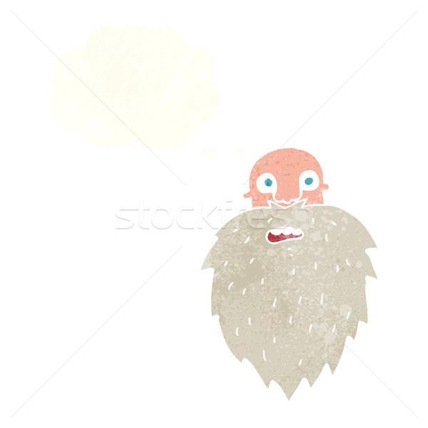 Cartoon barbuto uomo bolla di pensiero mano faccia Foto d'archivio © lineartestpilot