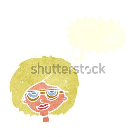 cartoon mean female face with thought bubble Stock photo © lineartestpilot