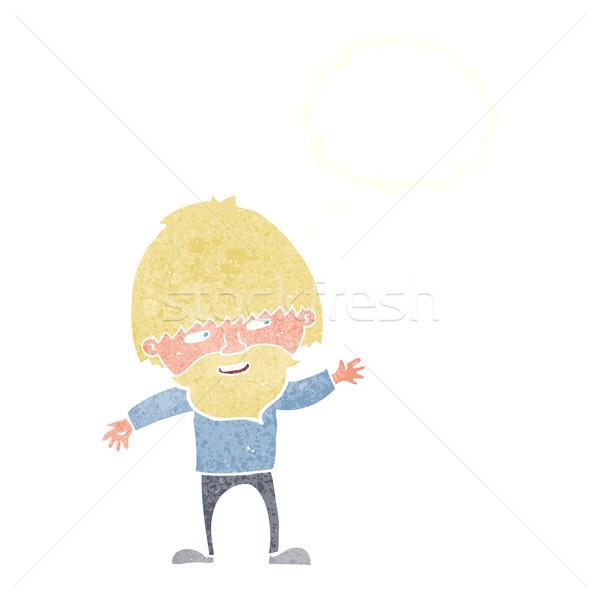 Karikatür mutlu sakallı adam düşünce balonu Stok fotoğraf © lineartestpilot