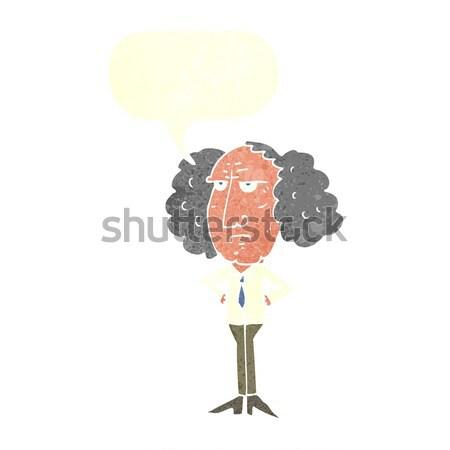 Cartoon duży włosy wykładowca człowiek bubble myśl Zdjęcia stock © lineartestpilot