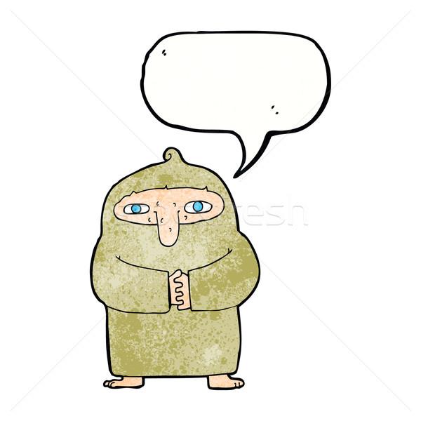Rajz szerzetes köntös szövegbuborék kéz terv Stock fotó © lineartestpilot
