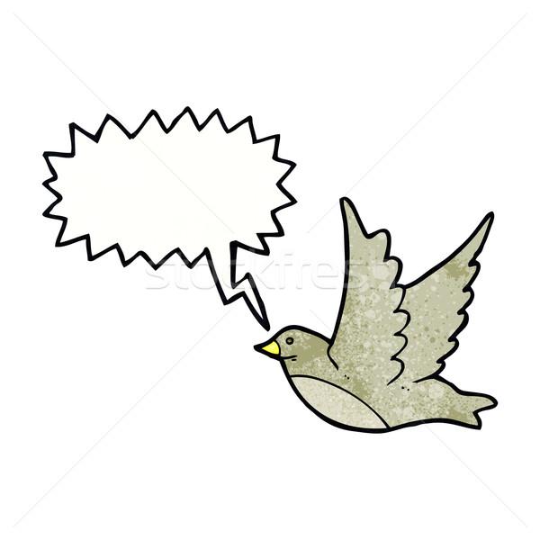 Cartoon vliegen vogel tekstballon hand ontwerp Stockfoto © lineartestpilot