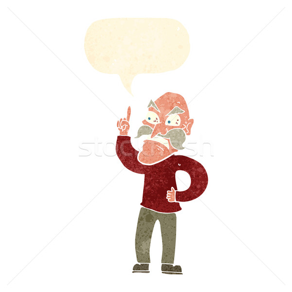 cartoon old man laying down rules with speech bubble Stock photo © lineartestpilot