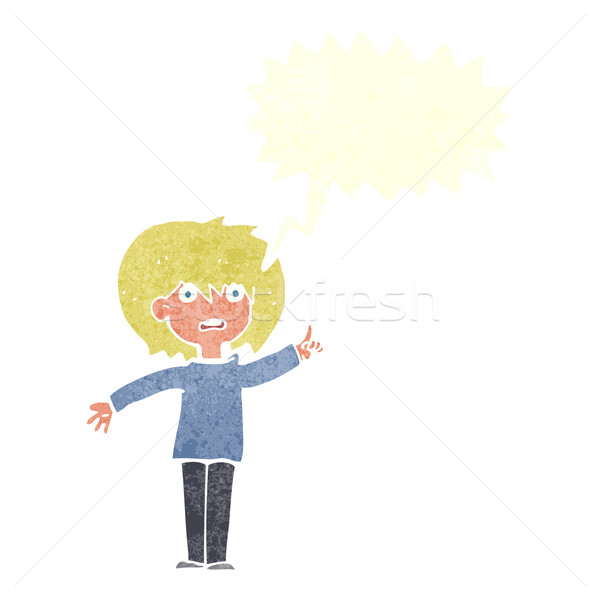 cartoon woman asking question with speech bubble Stock photo © lineartestpilot