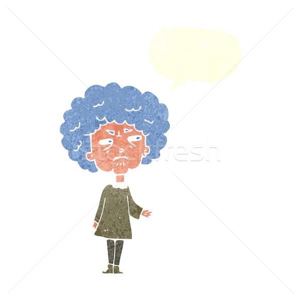 Cartoon oude dame tekstballon hand ontwerp kunst Stockfoto © lineartestpilot
