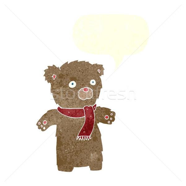 Cartoon teddybeer tekstballon hand ontwerp kunst Stockfoto © lineartestpilot