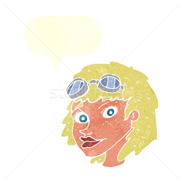 cartoon happy woman wearing aviator goggles with speech bubble Stock photo © lineartestpilot