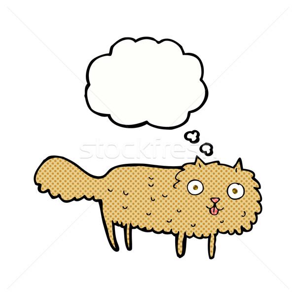 Cartoon peludo gato burbuja de pensamiento mano diseno Foto stock © lineartestpilot