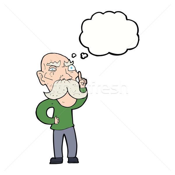 Rajz bosszús idős férfi gondolatbuborék kéz férfi Stock fotó © lineartestpilot
