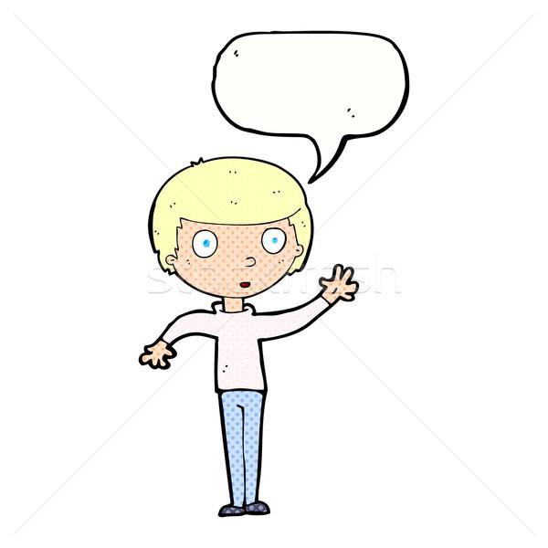 cartoon staring boy with speech bubble Stock photo © lineartestpilot
