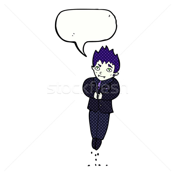 cartoon floating vampire with speech bubble Stock photo © lineartestpilot