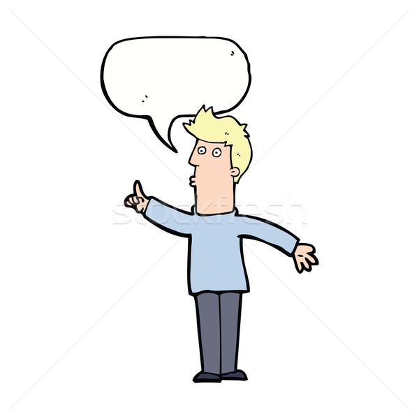 cartoon man advising caution with speech bubble Stock photo © lineartestpilot
