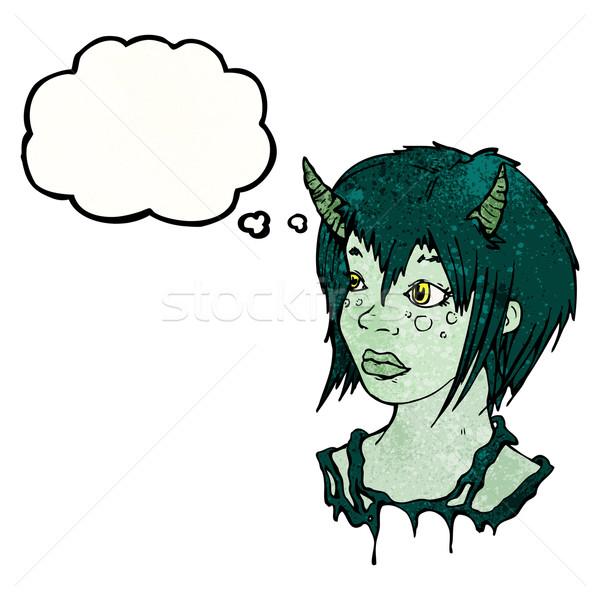 Stock fotó: ördög · lány · gondolatbuborék · textúra · kéz · boldog