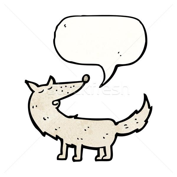 Cartoon волка речи пузырь говорить ретро рисунок Сток-фото © lineartestpilot