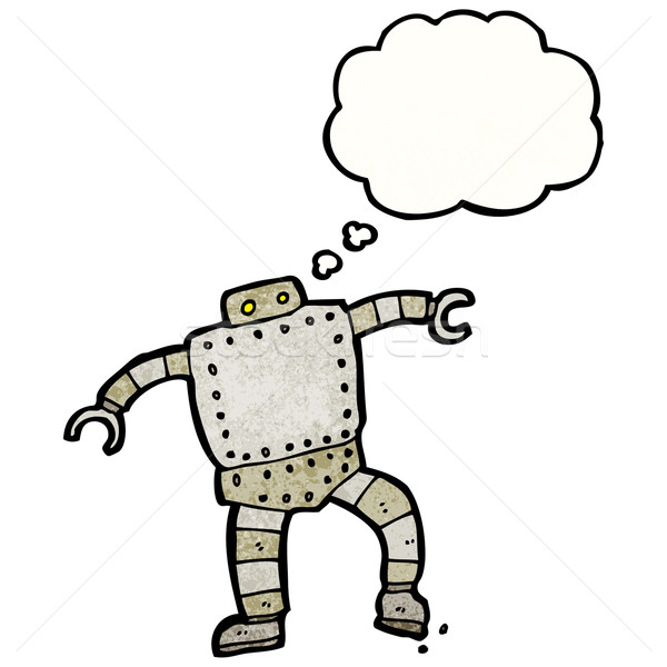 Stock photo: cartoon robot with thought bubble