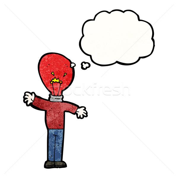Czerwone światło żarówki głowie człowiek cartoon retro Zdjęcia stock © lineartestpilot