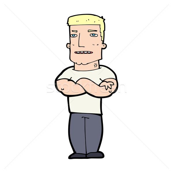 Cartoon twardy facet fałdowy broni człowiek Zdjęcia stock © lineartestpilot