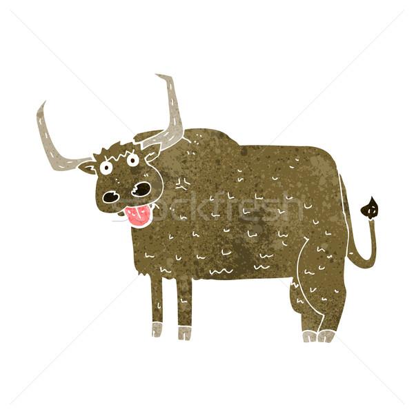 Cartoon behaard koe ontwerp kunst boerderij Stockfoto © lineartestpilot