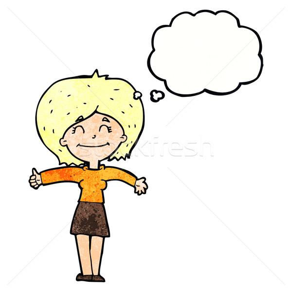 Cartoon donna segno bolla di pensiero mano Foto d'archivio © lineartestpilot