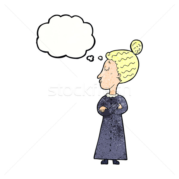 Cartoon учитель мысли пузырь женщину стороны дизайна Сток-фото © lineartestpilot