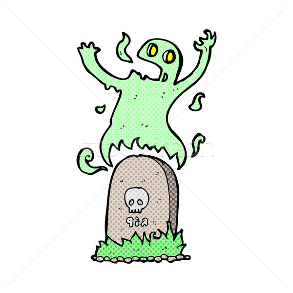 comic cartoon ghost rising from grave Stock photo © lineartestpilot