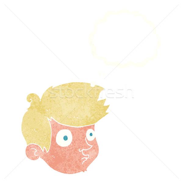 Rajz bámul fiú gondolatbuborék kéz férfi Stock fotó © lineartestpilot
