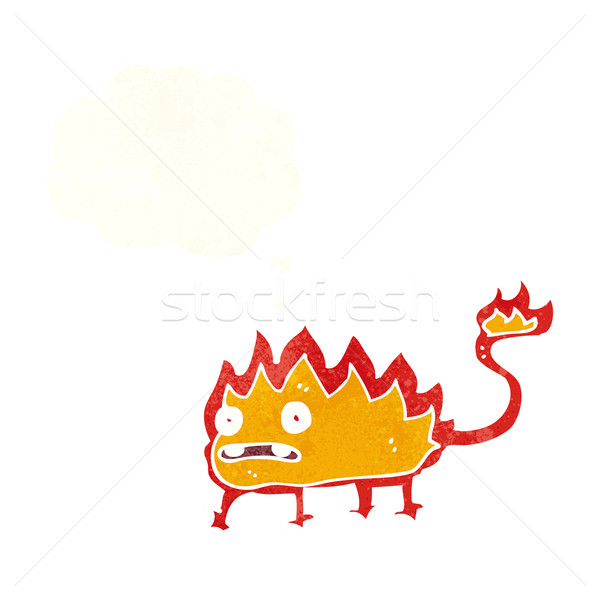cartoon little fire demon with thought bubble Stock photo © lineartestpilot