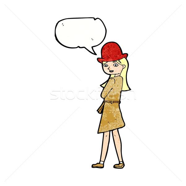 Rajz női kém szövegbuborék nő kéz Stock fotó © lineartestpilot
