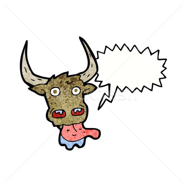 cartoon cow face with speech bubble Stock photo © lineartestpilot