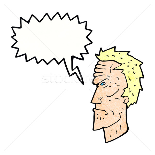 cartoon angry face with speech bubble Stock photo © lineartestpilot