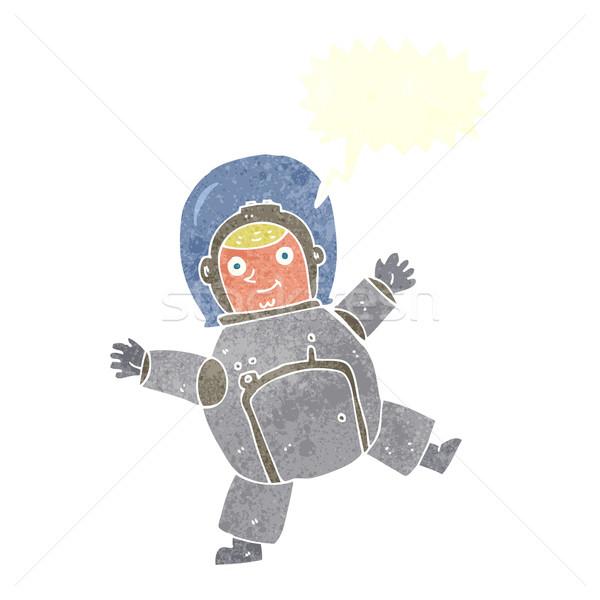 Desenho animado astronauta balão de fala mão projeto espaço Foto stock © lineartestpilot