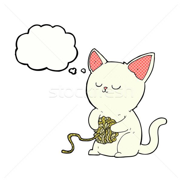 Cartoon gato jugando pelota hilados burbuja de pensamiento Foto stock © lineartestpilot