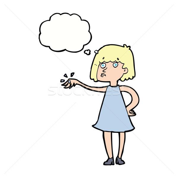 Rajz nő mutat el eljegyzési gyűrű gondolatbuborék Stock fotó © lineartestpilot