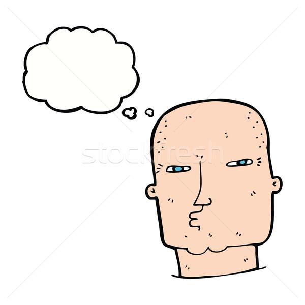 Karikatür kel sert adam düşünce balonu el Stok fotoğraf © lineartestpilot