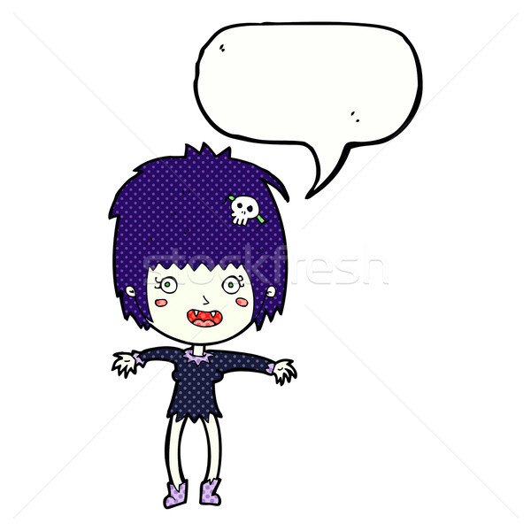 cartoon vampire girl with speech bubble Stock photo © lineartestpilot