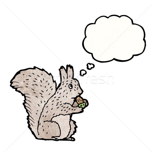 Stock fotó: Rajz · mókus · beszél · retro · gondolkodik · rajz