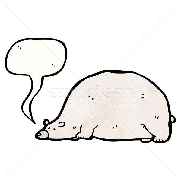 Cartoon большой полярный медведь говорить ретро жира Сток-фото © lineartestpilot
