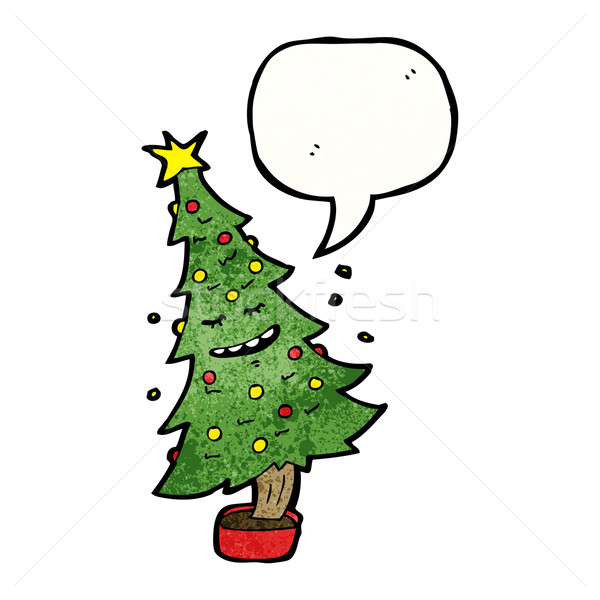Cartoon Christmas Tree.Cartoon Christmas Tree With Speech Bubble Vector