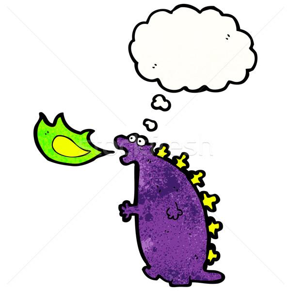 Cartoon fuego respiración monstruo retro dibujo Foto stock © lineartestpilot