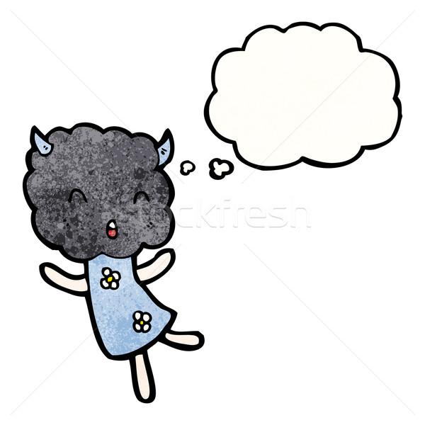 Cartoon tormenta nube criatura arte retro Foto stock © lineartestpilot