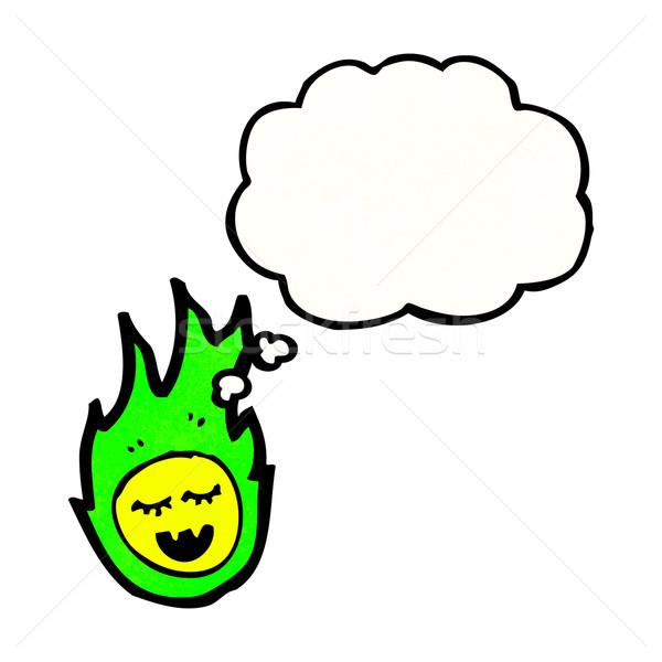 Verde fireball fantasma desenho animado retro textura Foto stock © lineartestpilot